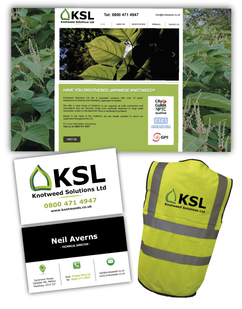 KSL Branding, website, business card and workwear