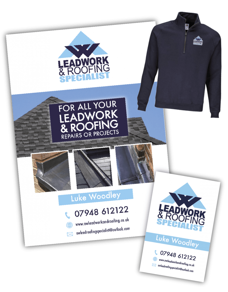 AW Leadwork Brand, flyer, workwear & business card