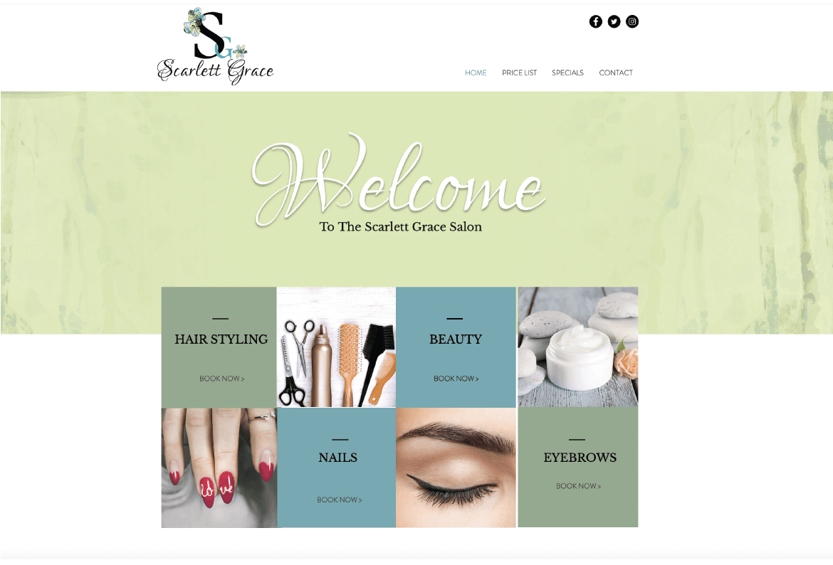 Scarlett Grace Website Design
