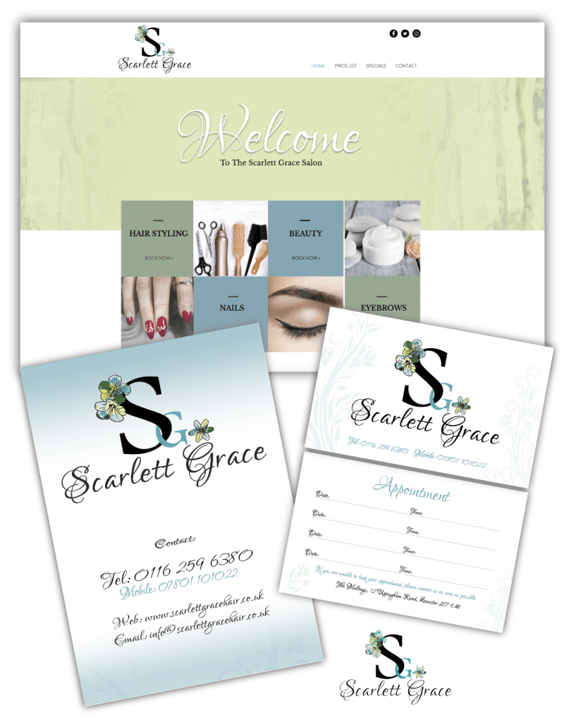 Scarlett Grace Branding, Website, Flyer, Logo & Business Card